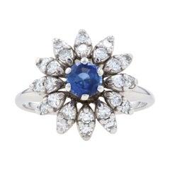 White Gold Sapphire & Diamond Vintage Halo Ring, 14k Round Cut .98ctw Flower