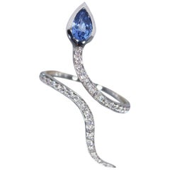 White Gold Snakes Ring with Diamonds and Sapphire