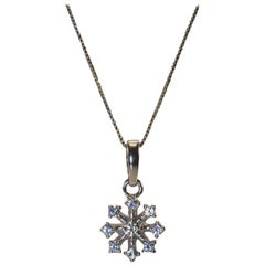 White Gold 18k Snowflake Diamond Necklace