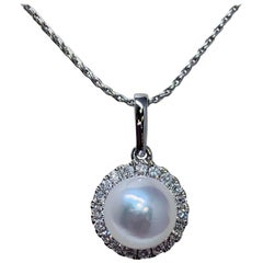 White Gold Solitaire Freshwater Pearl and Diamond Necklace
