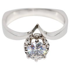 White Gold Solitaire Ring with 0.8 Carat Diamond, Top Wesselton, VVS2