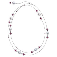White Gold South Sea Pearl Ruby and Diamond Long Necklace