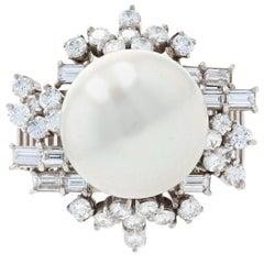 White Gold South Seas Pearl & Diamond Vintage Halo Ring, 18k Baguette 1.34 Carat