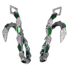 White Gold Spiral Snake Hoop Earrings with Pavé Diamonds and Green Enamel