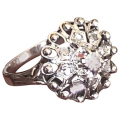 White Gold Star Ring Set with Rose Cut Diamonds and Large Central One