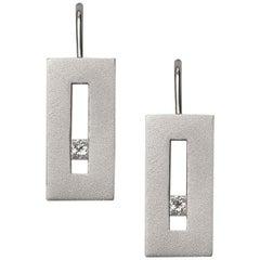 Diamond in White Gold Suspended Rectangle Earrings