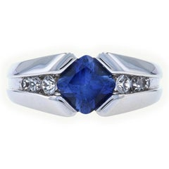 White Gold Synthetic Sapphire Men's Ring, 10k Cushion Cut 2.20ctw