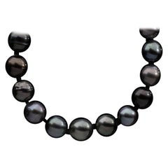 White Gold Tahitian Black Pearl Strand Necklace