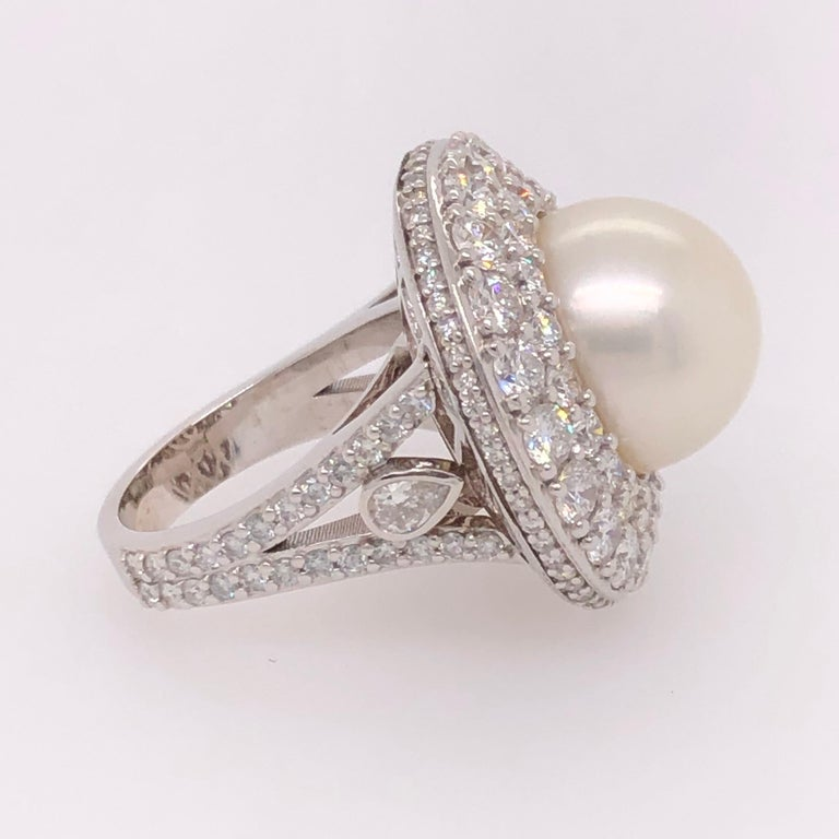 Modern Orianne Collins White Gold Tahitian Pearl and Diamond Ring For Sale