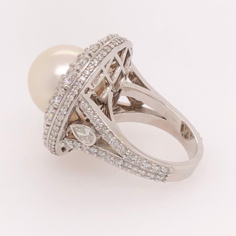 Orianne Collins White Gold Tahitian Pearl and Diamond Ring In New Condition For Sale In Dallas, TX