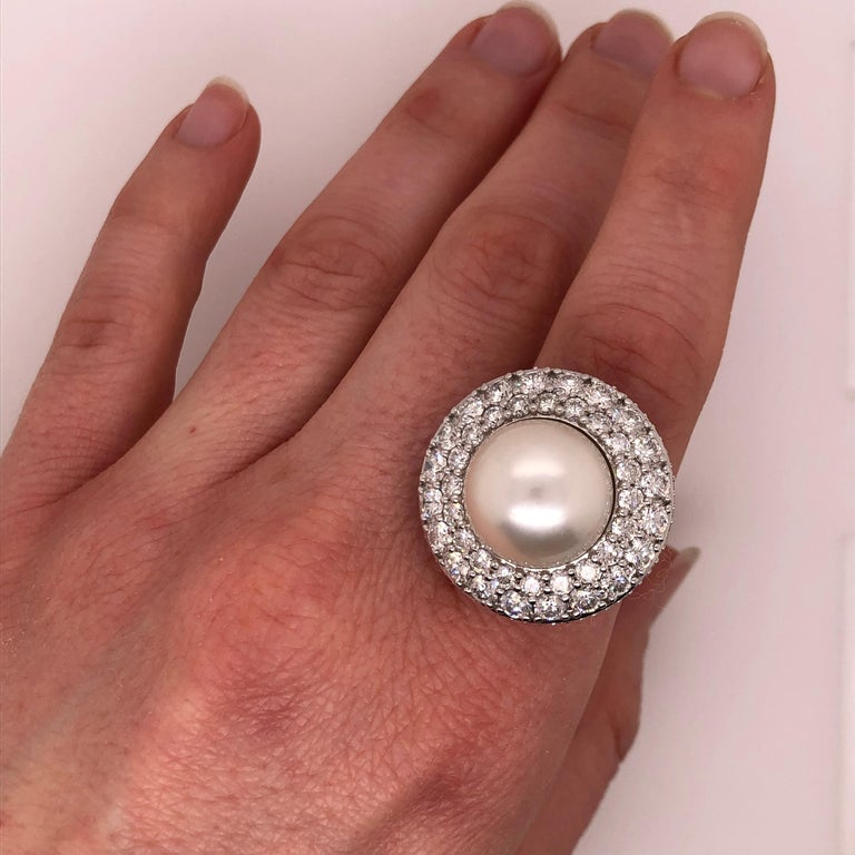 Women's Orianne Collins White Gold Tahitian Pearl and Diamond Ring For Sale