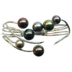 White Gold Tahitian Pearl Diamond Cuff Bracelet