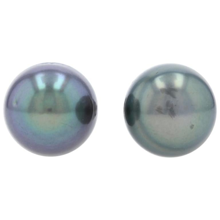 White Gold Tahitian Pearl Stud Earrings, 18 Karat Pierced
