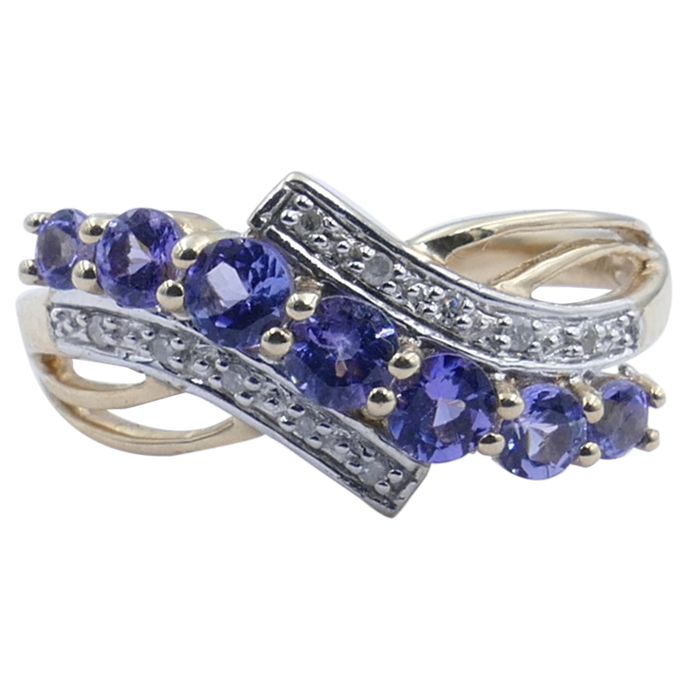 White Gold Tanzanite and Diamond Ring