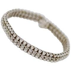 White Gold Tennis Bracelet, Set with 52 Round Diamonds, Total 5 Carat