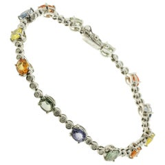 White Gold Tennis Bracelet with Diamonds and Sapphires