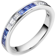 White Gold Three Diamond Alternating Three Sapphire Partial Gold Ring