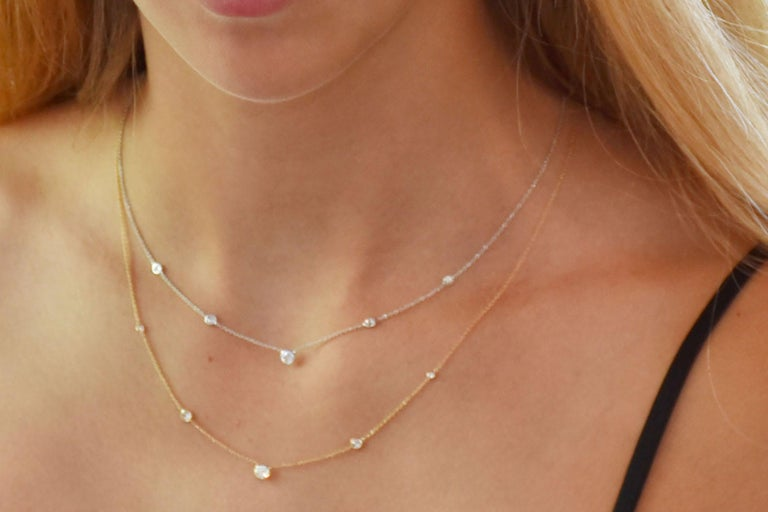 Round Cut White Gold Three Graduating Diamond Bezel-Set Necklace Pendant For Sale