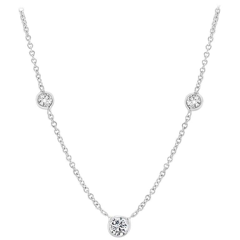 White Gold Three Graduating Diamond Bezel-Set Necklace Pendant For Sale
