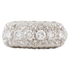 White Gold Three-Row Diamond Ring