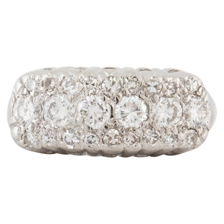 White Gold Three-Row Diamond Ring For Sale