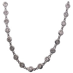 White Gold Tiffany Bezel Set Necklace