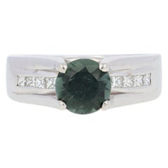 White Gold Tourmaline and Diamond Ring, 14 Karat Round 1.71 Carat Engagement