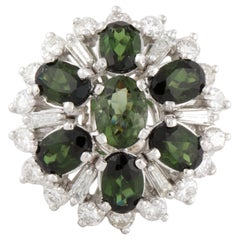 Green Tourmaline and Diamond Cluster Ring