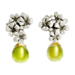 White Gold Transformer Modern Earrings with Diamonds and Removable Lemon Quartz