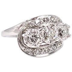 White Gold Vintage Diamond Three-Stone Ring