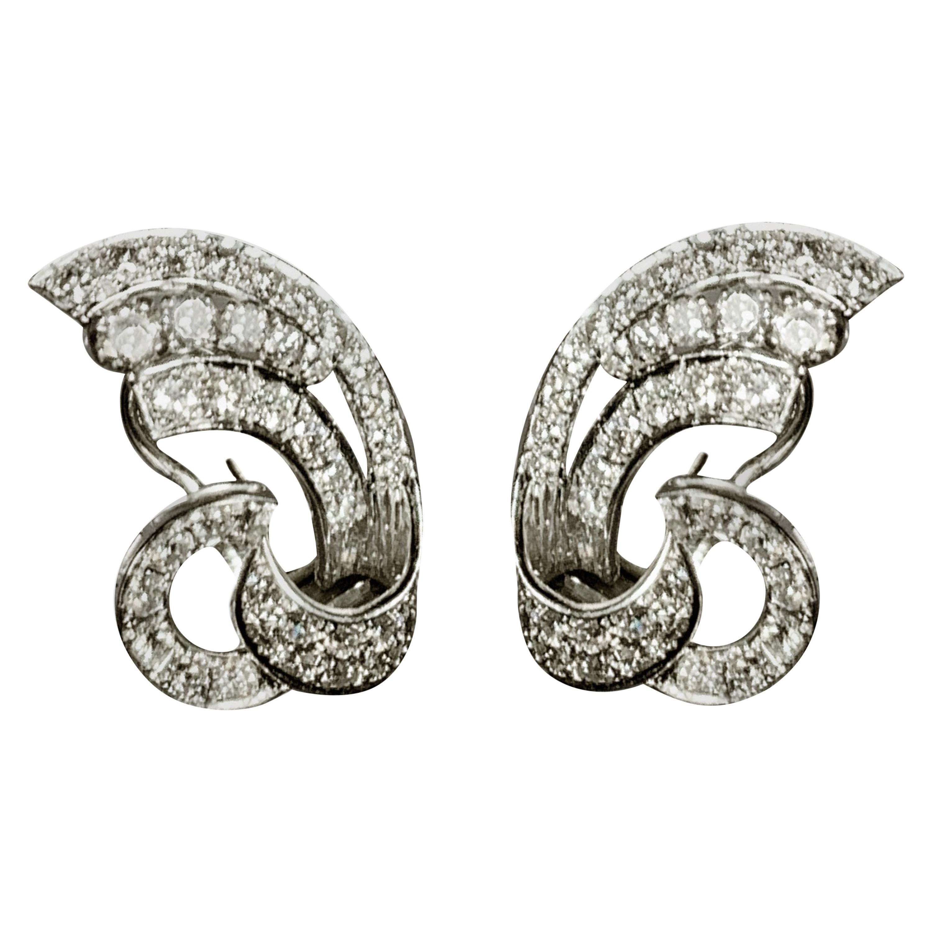 Vintage White Gold  Earrings with Diamonds Dolce Vita Style