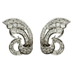 White Gold Vintage Earrings with Diamonds