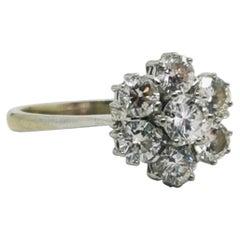 White Gold Vintage Engagement Diamond Cluster Flower Ring