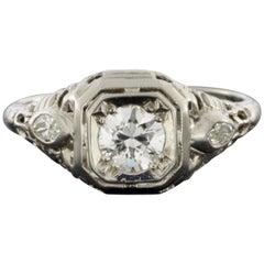 White Gold Vintage Engagement Ring