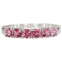 White Gold Wedding Band Ring with Round Cut Peach Pink Spinel