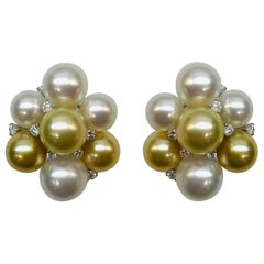 White Gold White and Golden South Sea Diamond Cluster Earrings