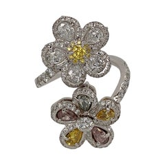 White Gold White and Yellow Diamond Ring, Flower Ring