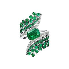 Ethically Sourced Emeralds Cocktail Ring, in 18K White Gold and White Diamonds