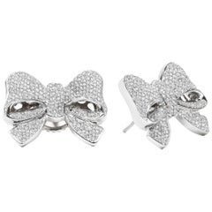 White Gold White Diamond Earrings, Bow Earrings