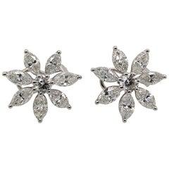 White Gold White Diamond Earrings, Floral Earrings