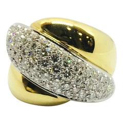 Yellow Gold White Gold White Diamond Ring Band