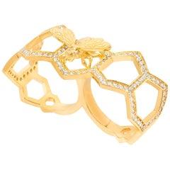 White Gold White Diamond Ring, Bee Ring