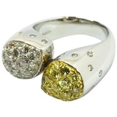 White Gold White Diamond Yellow Diamond Ring Band