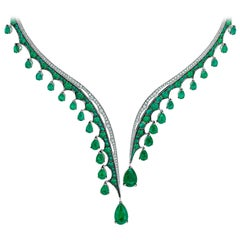 Ethically Sourced Emeralds Necklace, in 18K White Gold and White Diamonds