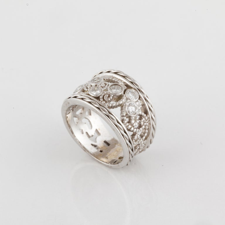 Women's or Men's White Gold Wide Diamond Band Ring For Sale