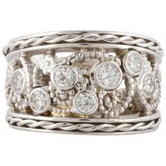 14K White Gold Diamond Floral Pattern Band