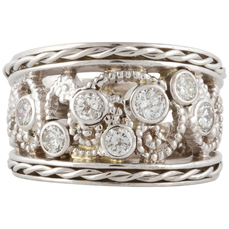 White Gold Wide Diamond Band Ring For Sale