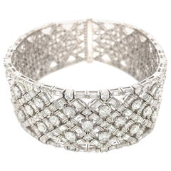 White Gold Wide Diamond with Rounds and Baguettes Bracelet