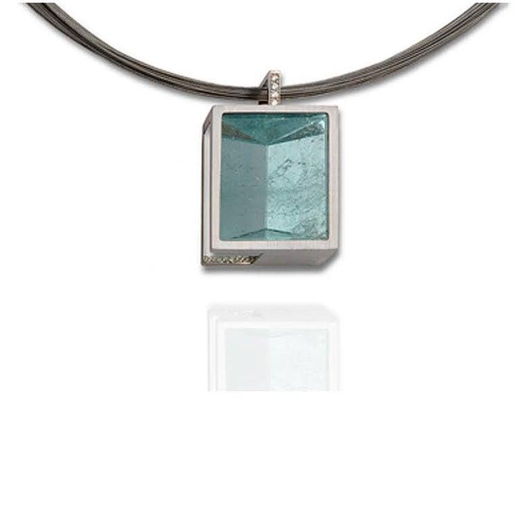 Contemporary White Gold with Diamond Pave' Mirror Cut Aquamarine Pendant For Sale