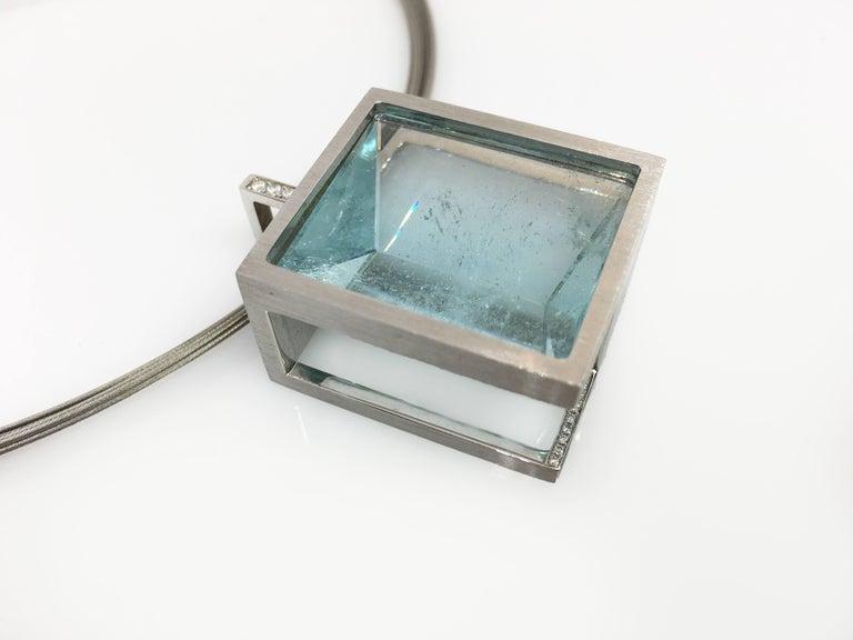 Women's White Gold with Diamond Pave' Mirror Cut Aquamarine Pendant For Sale